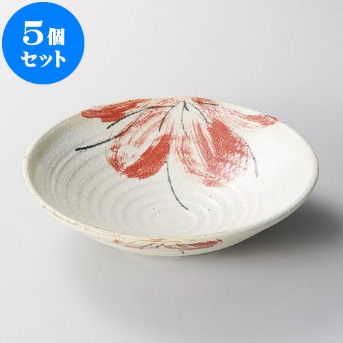 5個セット 麺皿 荒粉引赤花7.0盛鉢 [ 22.8 x 6cm ] 料亭 旅館 和食器 飲食店 業務用