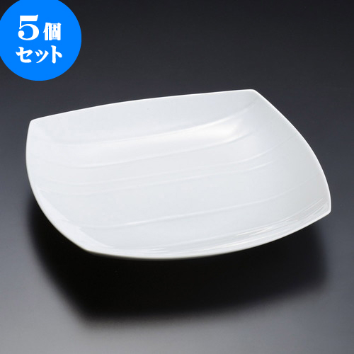5個セット 有田焼逸品 白磁手彫 口変皿(有田焼) [ 22 x 22 x 3.8cm ] 料亭 旅館 和食器 飲食店 業務用