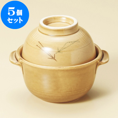 5個セット 雑煮鍋 松葉碗付雑炊鍋(萬古焼) [ 16.5 x 14 x 13cm ] 料亭 旅館 和食器 飲食店 業務用