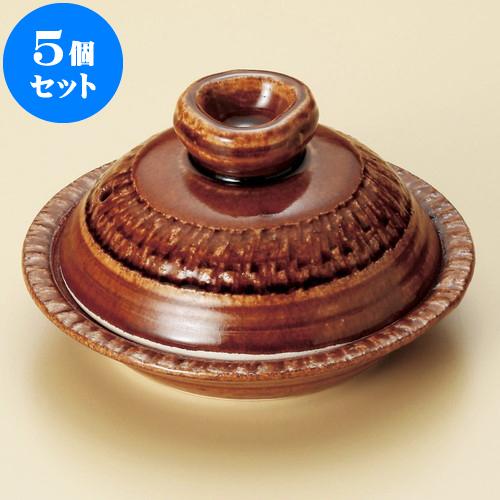 5個セット 陶板 アメ釉(手造り)5号陶板(萬古焼) [ 16.5 x 6.8cm ] 料亭 旅館 和食器 飲食店 業務用