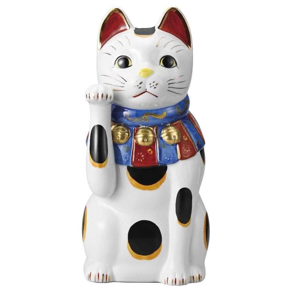 赤絵ブチ猫 大(右) [ 34cm 2000g ] [ 招き猫 ]   縁起物 置物 ねこ ネコ cat 開店祝い 贈り物