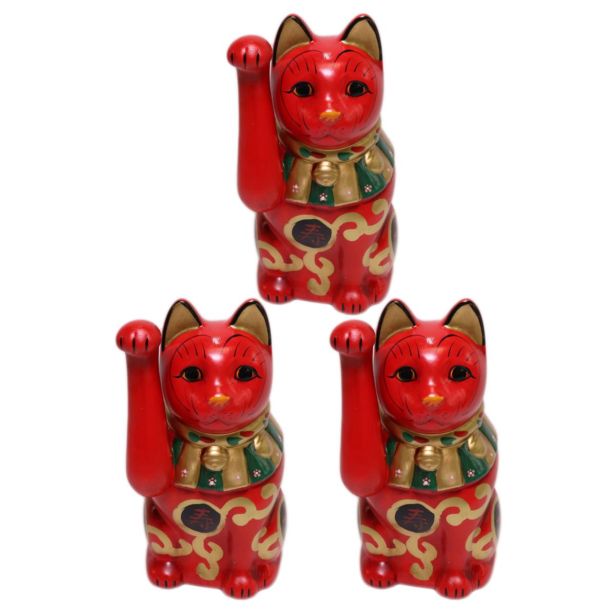 3個セット 招き猫 吉祥古色大正猫(小)赤 [ 19.5cm ] | 招き猫 ねこ cat 縁起物 お土産 かわいい おしゃれ 飾り 玄関飾り 開運 商売繁盛 家内安全 お守り まねきねこ プレゼント ギフト 贈り物 開店祝い