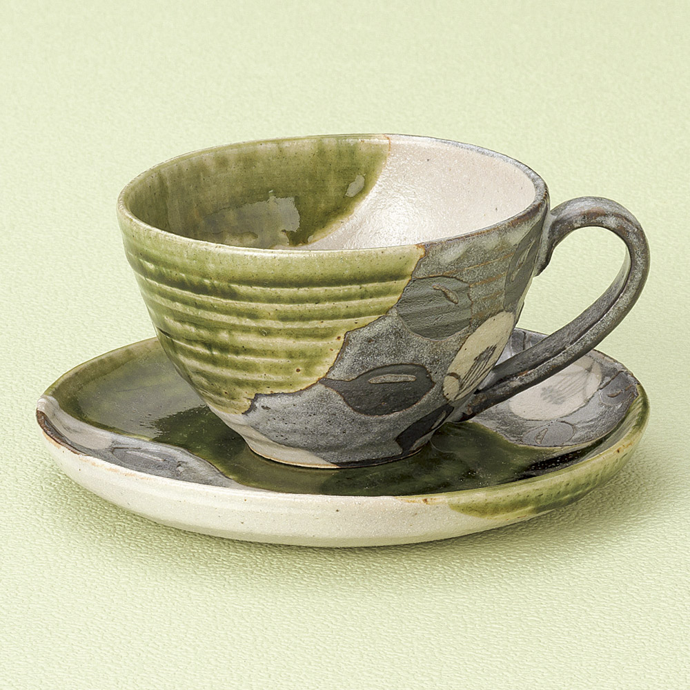 コーヒー 織部椿コーヒー碗皿 [ 10 x 6cm 250cc ] 【料亭 旅館 和食器 飲食店 業務用】