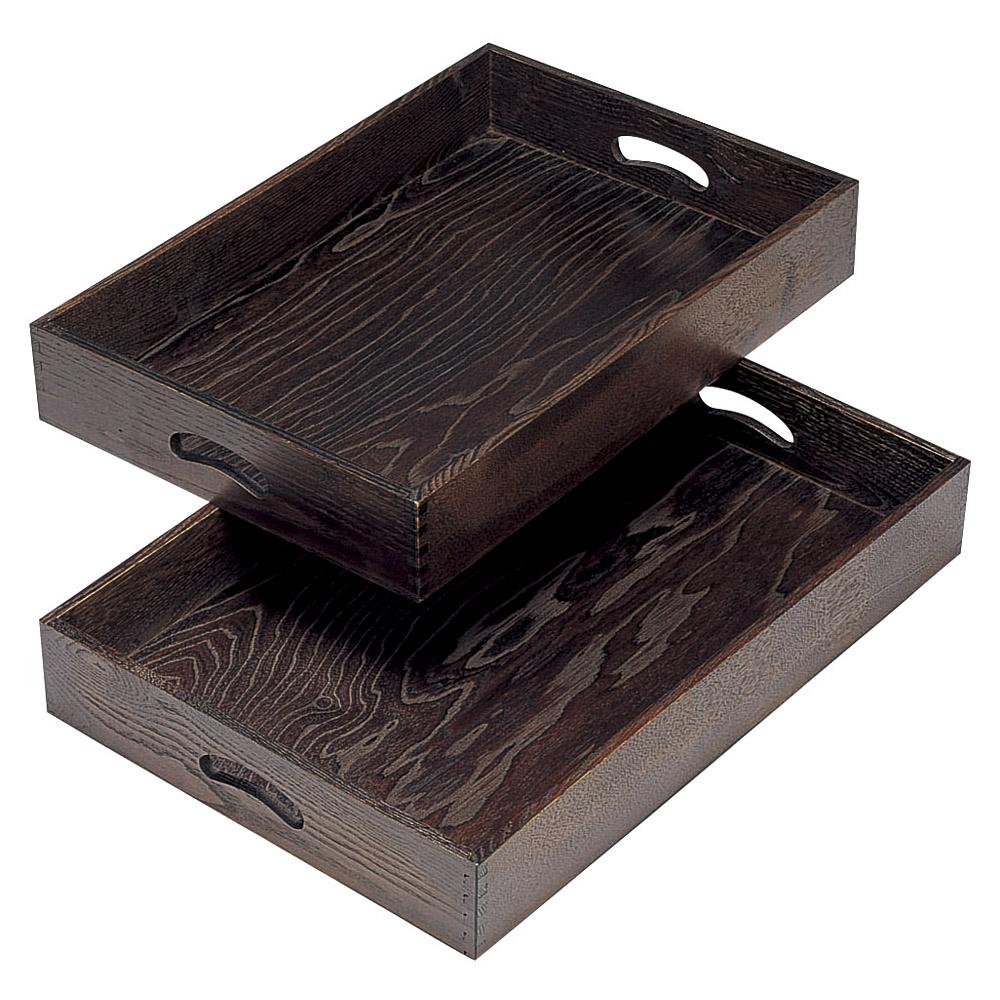 木曽木製品 運び盆深型(2枚1組) [ 大60 x 42 x 9cm 小57 x 39 x 9cm ] 【料亭 旅館 和食器 飲食店 業務用】