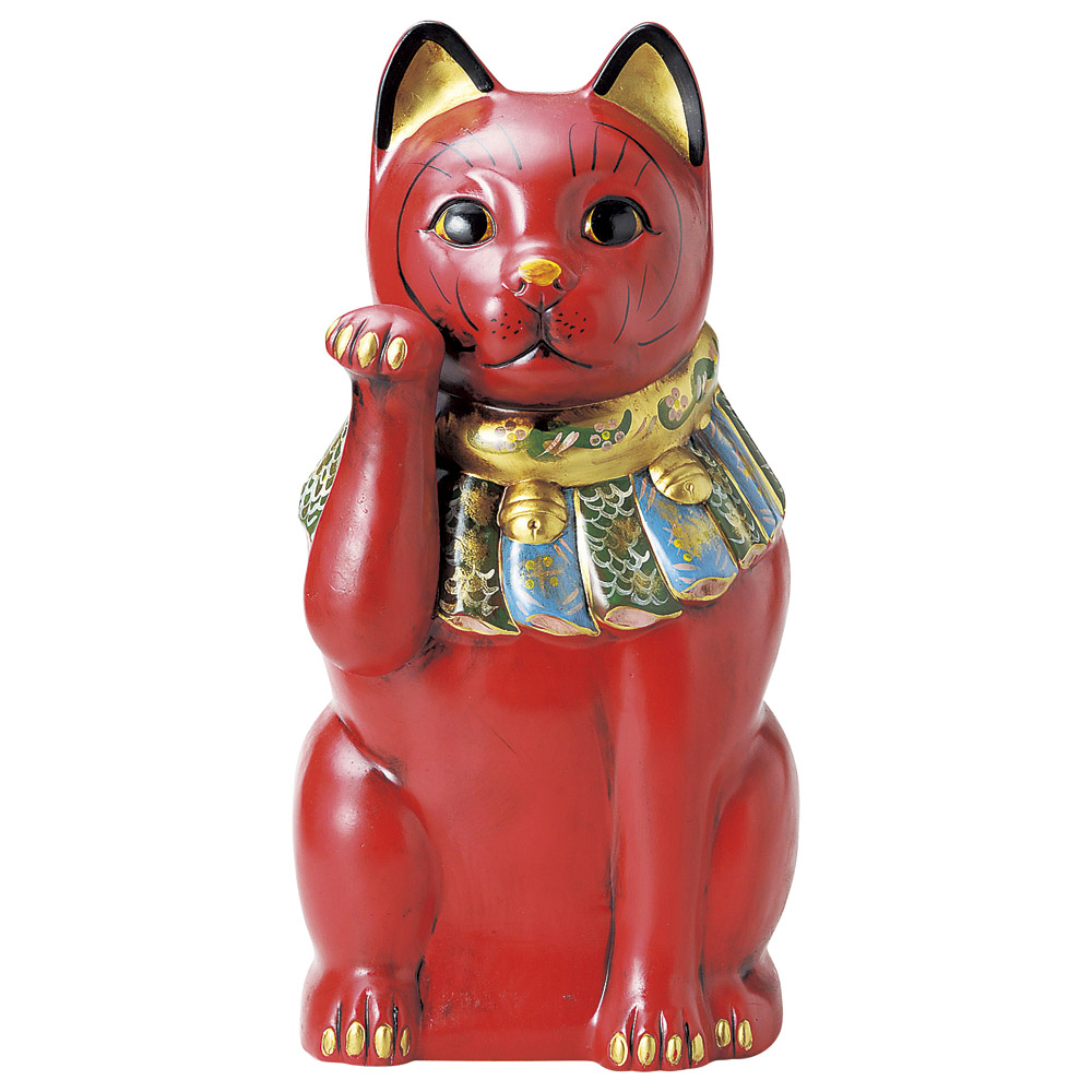 招き猫 古色大正猫(特大)赤(病気封じ)(長寿) [ 52cm ] 【料亭 旅館 和食器 飲食店 業務用】