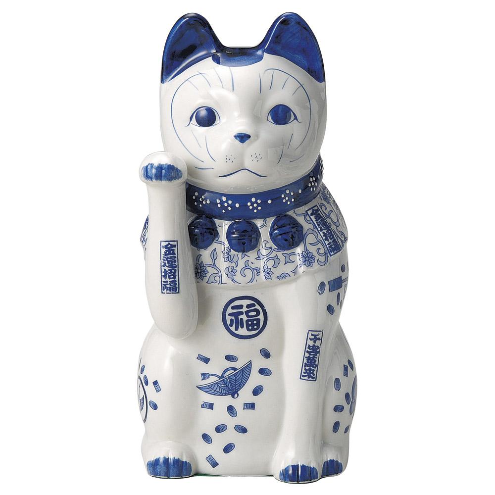 招き猫 染付猫(大)右 [ 34cm ] 【料亭 旅館 和食器 飲食店 業務用】