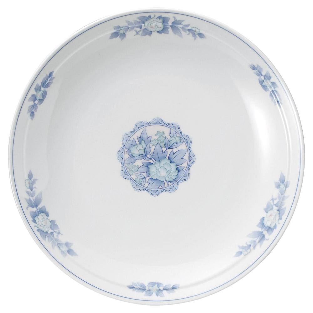中華オープン 三色牡丹 尺二丸皿 [ 36.5 x 5.7cm ] 【料亭 旅館 和食器 飲食店 業務用】