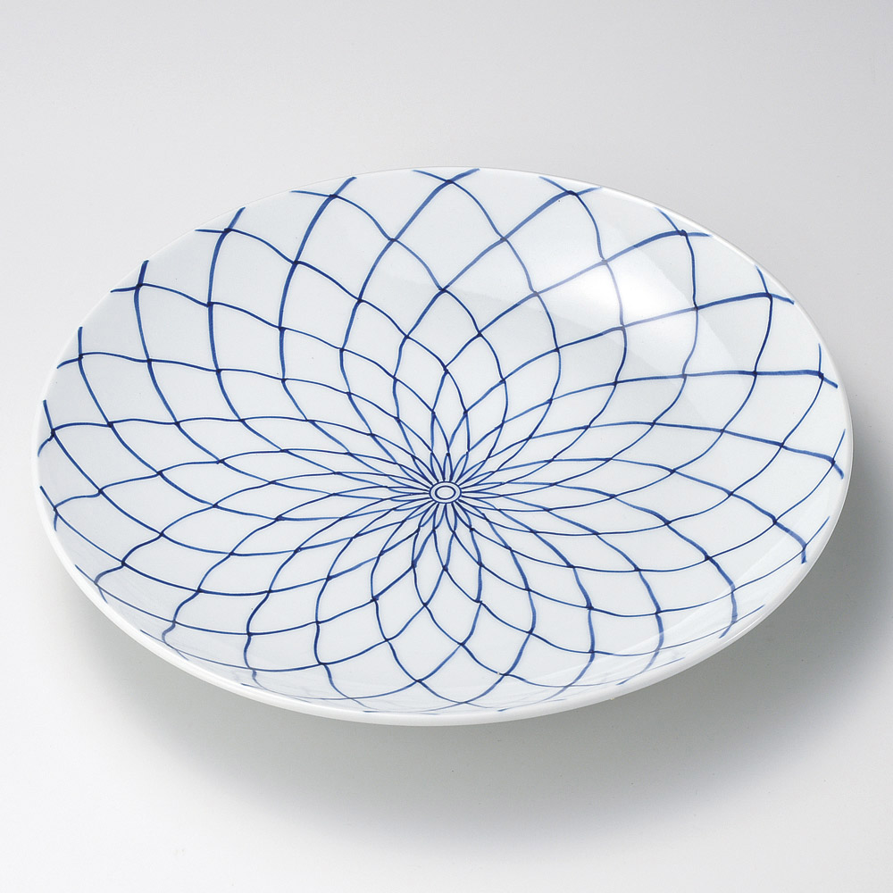 [ ] 業務用】 飲食店 5cm 和食器 x 34 手描網11号皿(有田焼) 旅館 【料亭 有田焼大皿