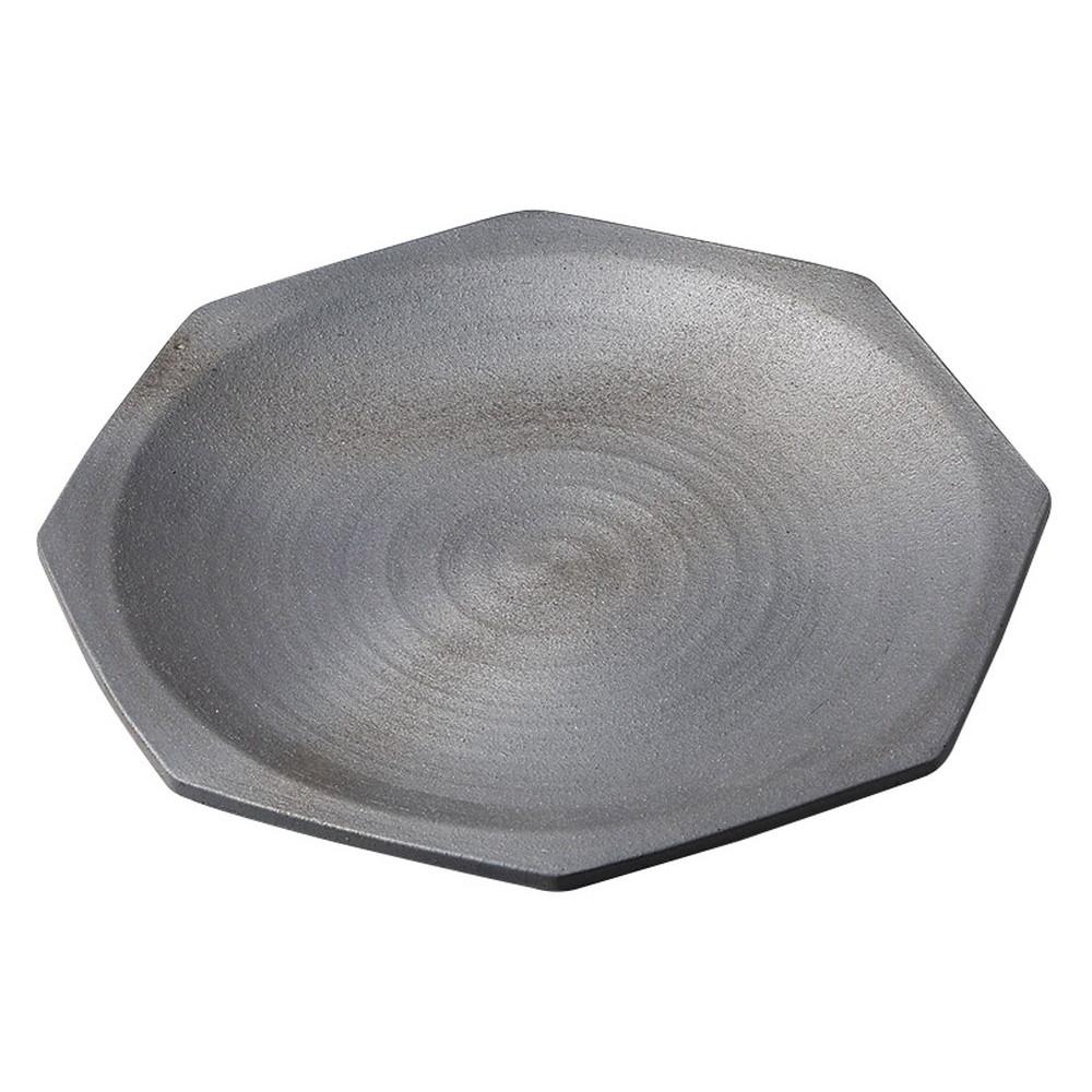 黒銀彩11.0八角皿 [ 32.5 x 32.5 x 4.5cm ] [ 変形大皿 ] | 飲食店 和食 旅館 ホテル 業務用