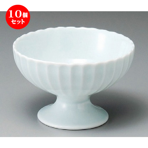 10個セット☆ 小鉢 ☆ かすみ 青白高台デザート碗 [ 120 x 77mm ] 【料亭 旅館 和食器 飲食店 業務用 】