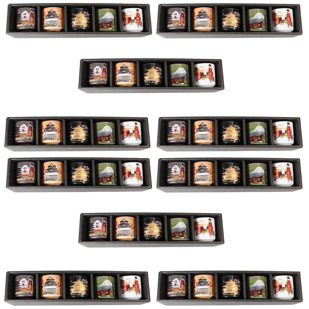 10個セット ☆ 日本土産 ☆ 美濃ぐい呑み5個セットクラシカル日本 [ 50 x 58mm ] 【お土産 和物 浮世絵 贈り物 】