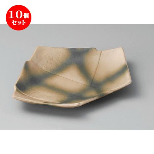 10個セット☆ 焼物皿 ☆ 南蛮黒格子7.0結形皿 [ 210 x 155 x 30mm ] 【料亭 旅館 和食器 飲食店 業務用 】