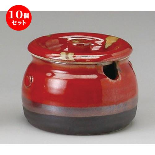 10個セット☆ カメ ☆ 平形赤白流し口切蓋物 [ 120 x 95mm・500cc ] 【料亭 旅館 和食器 飲食店 業務用 】