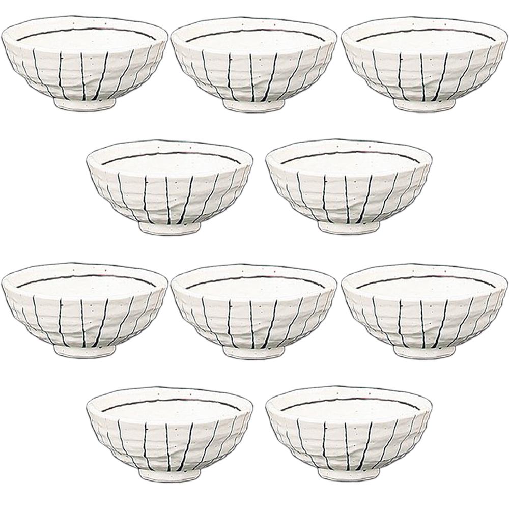 10個セット☆ 夫婦飯碗 ☆ 黒白十草茶碗(白) [ 125 x 57mm ] 【和食器 飲食店 お祝い 夫婦 】