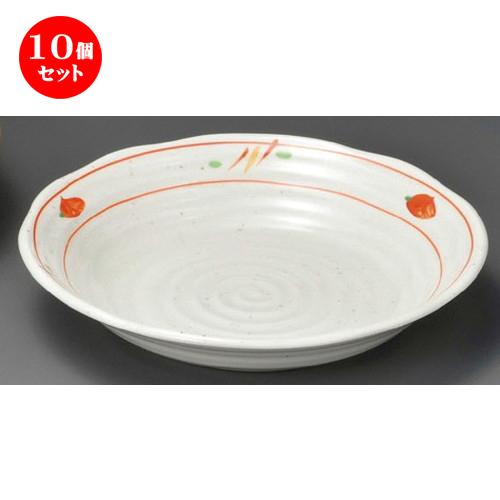 10個セット☆ 麺皿 ☆ 赤絵平安7.0深皿 [ 220 x 40mm ] 【蕎麦屋 定食屋 和食器 飲食店 業務用 】