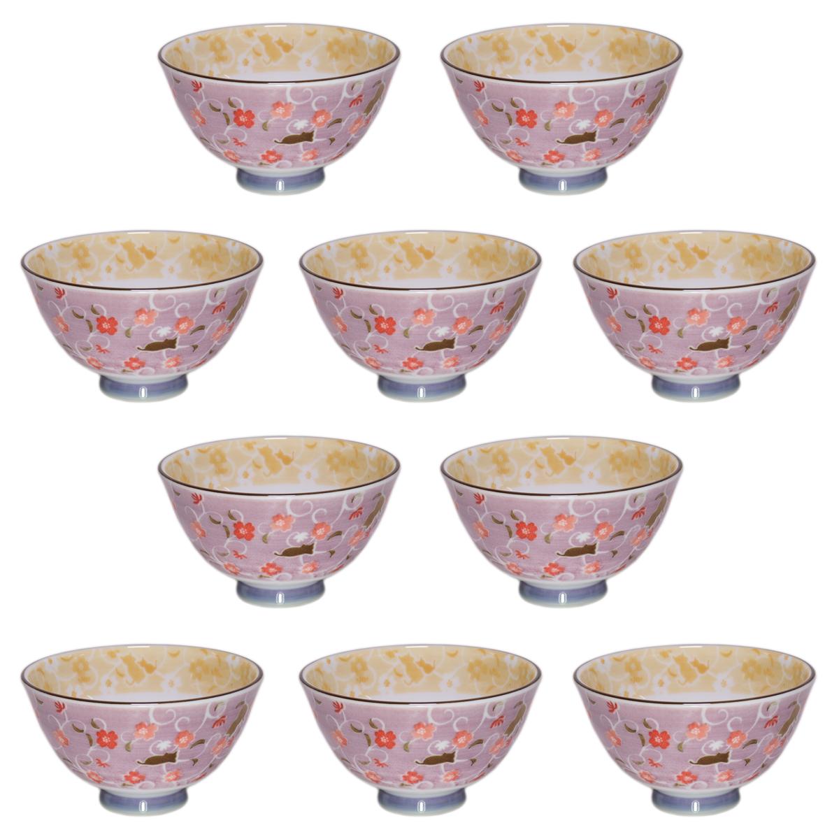 10個セット☆ 夫婦飯碗 ☆ 健康軽量茶碗猫のかくれんぼ赤 [ 112 x 62mm ] 【和食器 飲食店 お祝い 夫婦 】