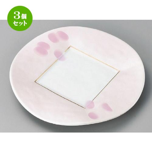 3個セット☆ 丸皿 ☆ ピンク吹銀彩8.0皿 [ 245 x 29mm ] 【料亭 旅館 和食器 飲食店 業務用 】