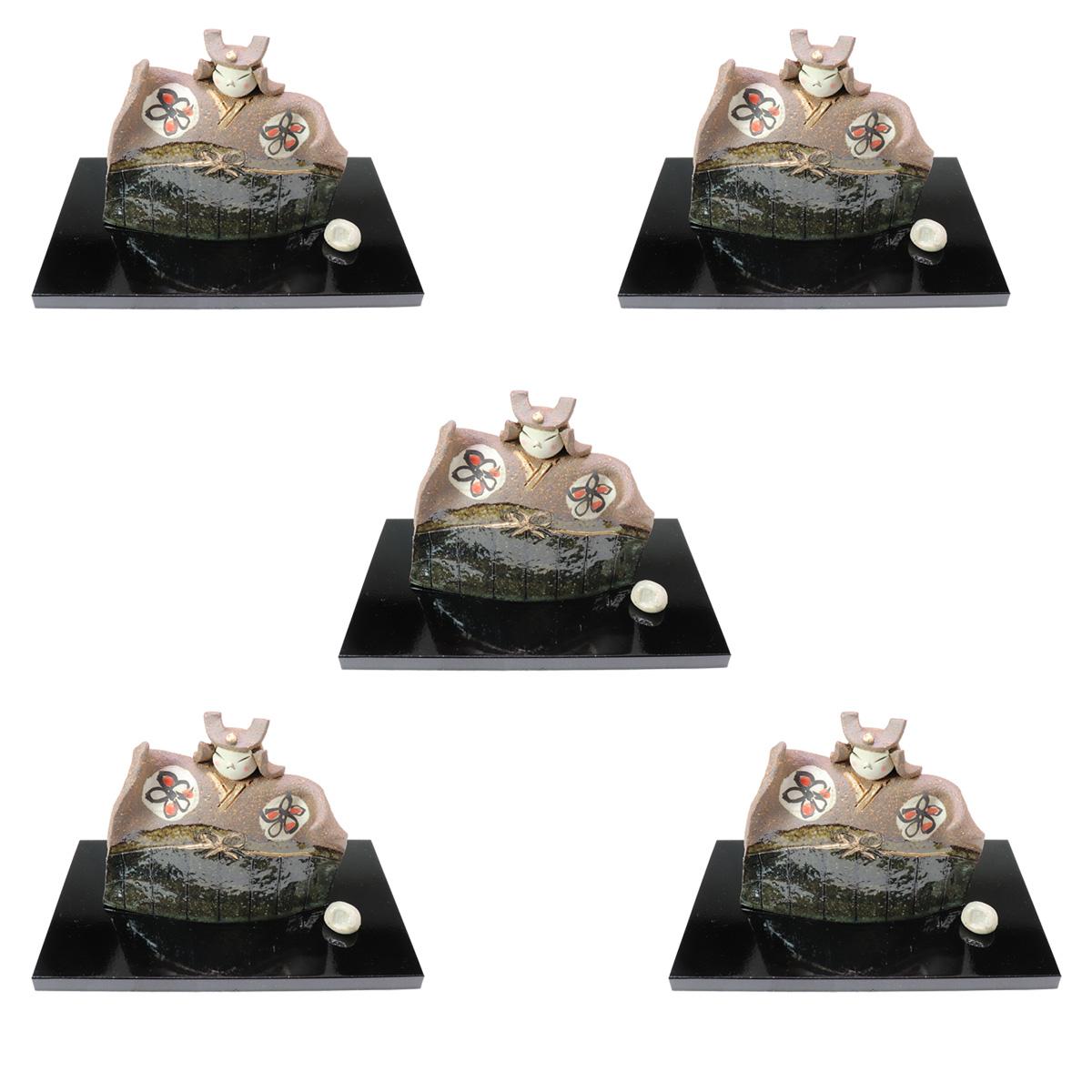 5個セット☆ 縁起の福飾り ☆ たたら武者人形 黒塗板付(化) [ 100mm ] 【五月人形 男の子 縁起物 置物 端午の節句 こどもの日 贈り物 】