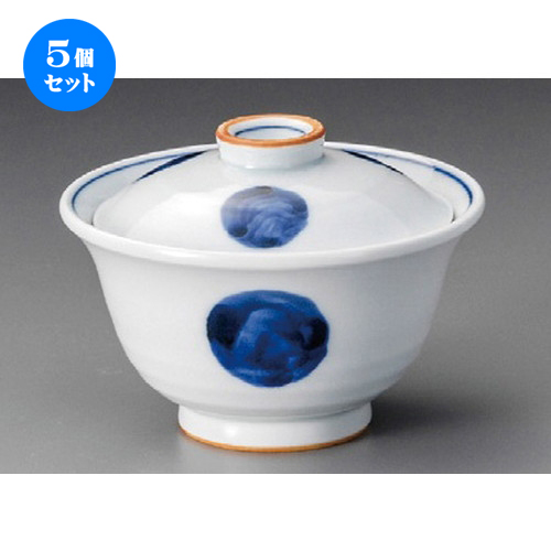 5個セット☆ 円菓子 ☆ 青丸紋円菓子碗 [ 115 x 80mm ] 【料亭 旅館 和食器 飲食店 業務用 】