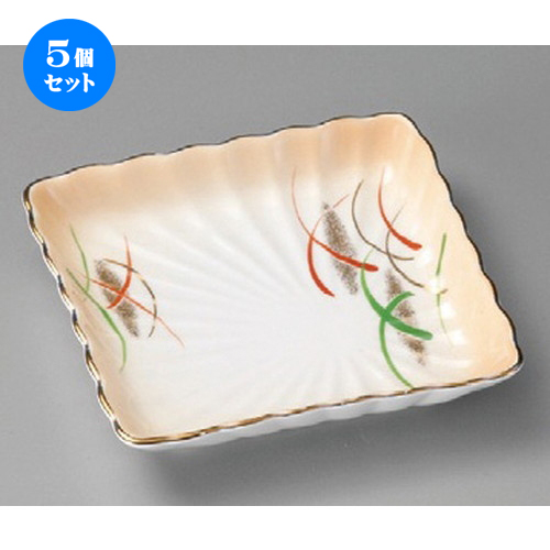 5個セット ☆ 松花堂 ☆ 加茂川菊型角皿 [ 112 x 112 x 20mm ] 【料亭 旅館 和食器 飲食店 業務用 】