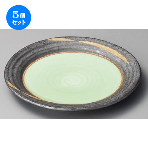 5個セット☆ 丸皿 ☆ 金カスリ9.0盛皿 [ 278 x 34mm ] 【料亭 旅館 和食器 飲食店 業務用 】