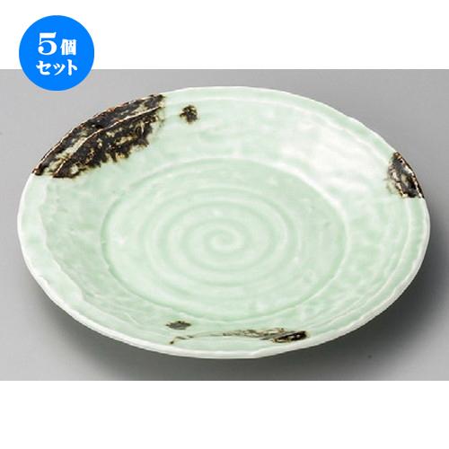 5個セット☆ 丸皿 ☆ 飛び青磁石目8.0皿 [ 245 x 34mm ] 【料亭 旅館 和食器 飲食店 業務用 】