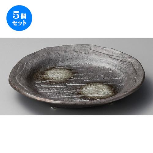 5個セット ☆ 大皿 ☆ 粉引丸紋四ツ足皿 [ 308 x 292 x 55mm ] 【料亭 旅館 和食器 飲食店 業務用 】