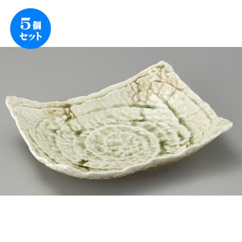 5個セット☆ 変形皿 ☆ 強化ビードロガタ彫り四方上がり盛皿 [ 310 x 230 x 70mm ] 【料亭 旅館 和食器 飲食店 業務用 】