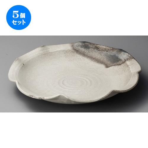 5個セット ☆ 大皿 ☆ 灰釉粉引11.0輪花皿 [ 340 x 60mm ] 【料亭 旅館 和食器 飲食店 業務用 】