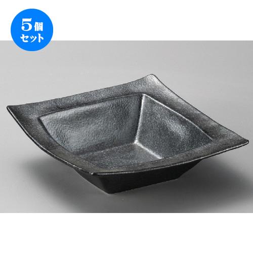 5個セット☆ 組鉢 ☆ 黒銀彩角盛鉢 [ 212 x 62mm ] 【料亭 旅館 和食器 飲食店 業務用 】