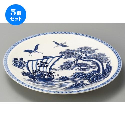 5個セット☆ 萬古焼大皿 ☆ 宝舟12.0丸皿 [ 370 x 40mm ] 【料亭 旅館 和食器 飲食店 業務用 】