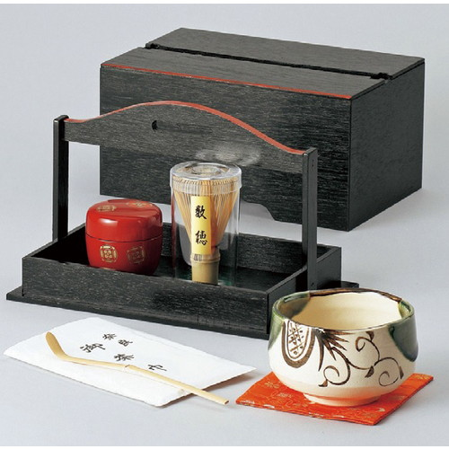 ☆ 茶道具 ☆ 手提茶箱揃 [ 263 x 170 x 136mm ] 【茶道 お土産 和食器 お抹茶 野点 茶室 床の間 】