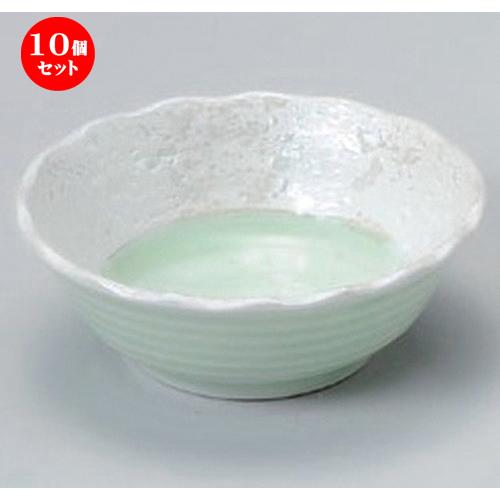 10個セット☆ 小付 ☆ヒワ釉真珠3.0花形小鉢 [ 8.5 x 3.3cm 78g ] [ 料亭 旅館 和食器 飲食店 業務用 ]
