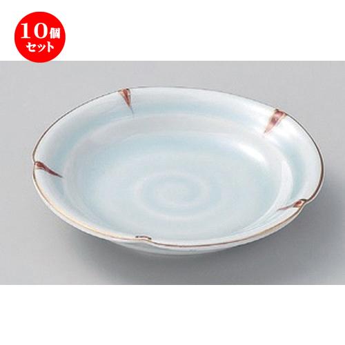10個セット☆ フルーツ皿 ☆赤絵青磁花型フルーツ皿 [ 15 x 3cm 280g ] 【 料亭 旅館 和食器 飲食店 業務用 】