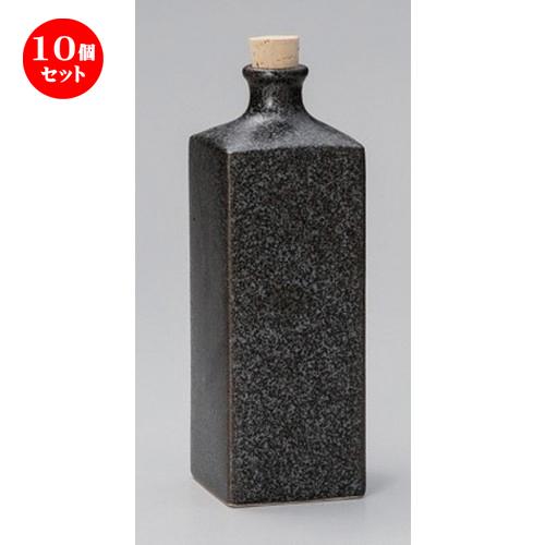 10個セット☆ 酒器 ☆黒釉角型焼酎ボトル [ 7.5 x 23cm (830cc) 438g ] [ 割烹 居酒屋 和食器 飲食店 業務用 ]