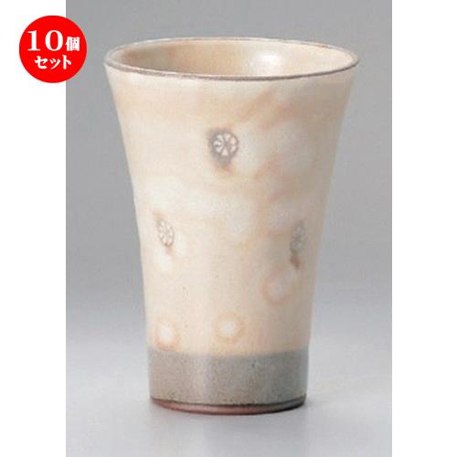 10個セット☆ フリーカップ ☆粉引印花フリーカップ [ 8.8 x 12.5cm (300cc) 246g ] 【 割烹 居酒屋 和食器 飲食店 業務用 】