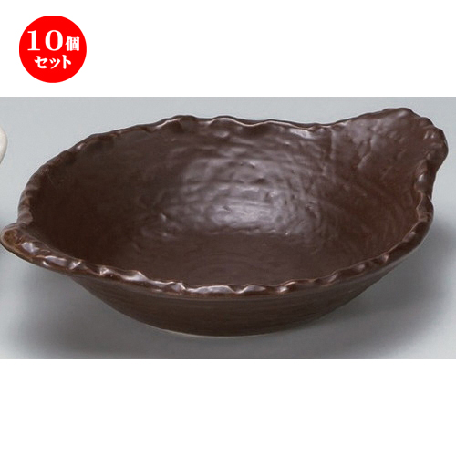 10個セット☆ 陶板 ☆茶変形浅鍋 [ 28 x 22 x 7cm 714g ] 【 料亭 旅館 和食器 飲食店 業務用 】