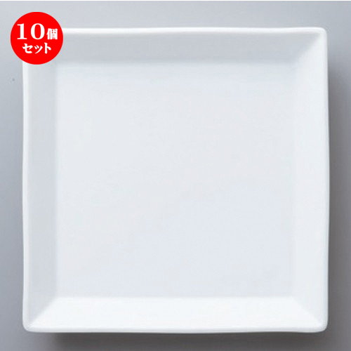 10個セット☆ ボーダーレススタイル ☆白磁正角22cm皿 [ 22.5 x 3.2cm 655g ] 【 ホテル レストラン 洋食器 飲食店 業務用 】