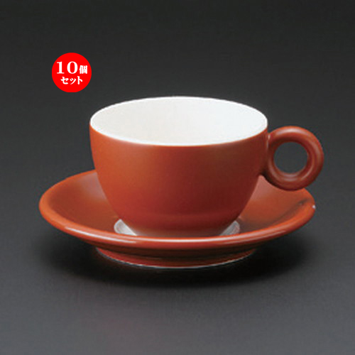 10個セット☆ コーヒーカップ ☆ブリオ (ブラウン) コーヒーC/S [ 11.8 x 8.8 x 5.7cm (180cc) ・ 14 x 2.3cm ・ 350g ] 【 カフェ レストラン 洋食器 飲食店 業務用 】