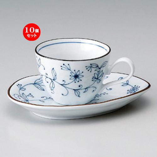 10個セット☆ 和風コーヒー ☆線唐草コーヒー碗皿 [ 皿17 x 12.5 x 2.5cm 202g ] 【 カフェ レストラン 和食器 飲食店 業務用 和カフェ 】