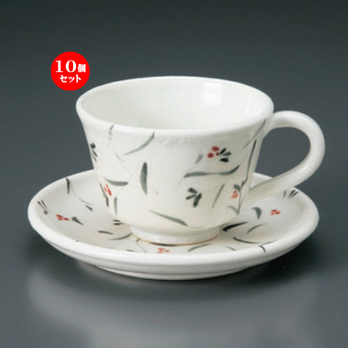 10個セット☆ 和風コーヒー ☆粉引小花コーヒー碗皿 [ 382g ] 【 カフェ レストラン 和食器 飲食店 業務用 和カフェ 】
