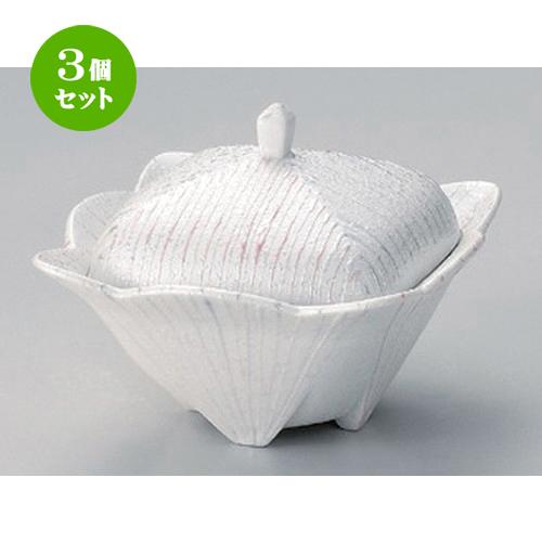 3個セット☆ 煮物碗 ☆パールライン角蓋物 [ 12 x 9cm 300g ] [ 料亭 旅館 和食器 飲食店 業務用 ]