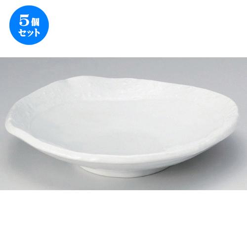 5個セット ☆ 盛鉢 ☆彫刻白釉丸盛皿 [ 28 x 6cm 990g ] [ 料亭 旅館 和食器 飲食店 業務用 ]