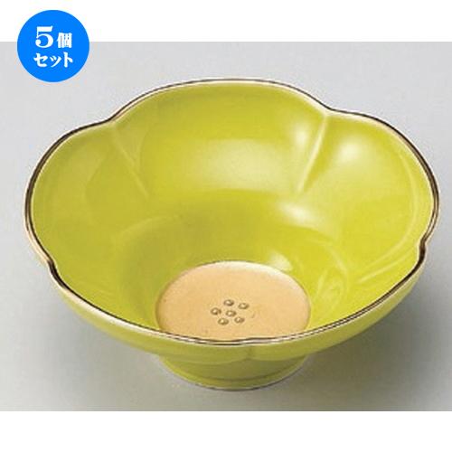 5個セット☆ 小鉢 ☆五釉金 (緑) 花型小鉢 [ 13.5 x 5.5cm 200g ] 【 料亭 旅館 和食器 飲食店 業務用 】