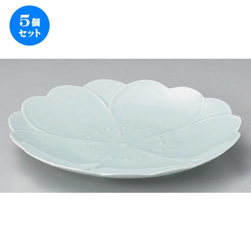 5個セット☆ 丸皿 ☆さくらさくら青磁オモテナシ皿 [ 25 x 3.5cm 552g ] 【 料亭 旅館 和食器 飲食店 業務用 】