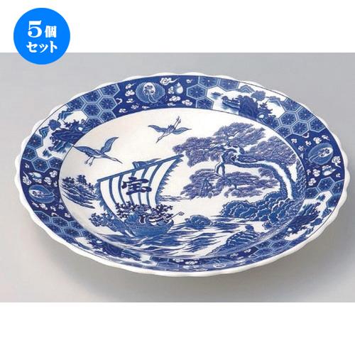 5個セット☆ 萬古焼大皿 ☆宝船13.0ユキワ皿 [ 41.5 x 5.5cm 1660g ] 【 料亭 旅館 和食器 飲食店 業務用 】
