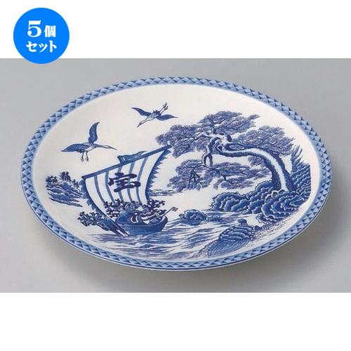 5個セット☆ 萬古焼大皿 ☆宝船12.0丸皿 [ 37 x 4cm 1400g ] 【 料亭 旅館 和食器 飲食店 業務用 】