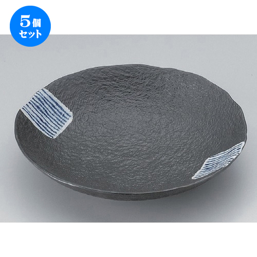 5個セット☆ 組皿 ☆藍タスキ丸皿 (大) [ 20.3 x 3.8cm 430g ] 【 料亭 旅館 和食器 飲食店 業務用 】