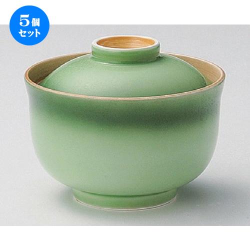 5個セット☆ 円菓子碗 ☆緑彩円菓子碗 [ 12.2 x 9.4cm 445g ] [ 料亭 旅館 和食器 飲食店 業務用 ]