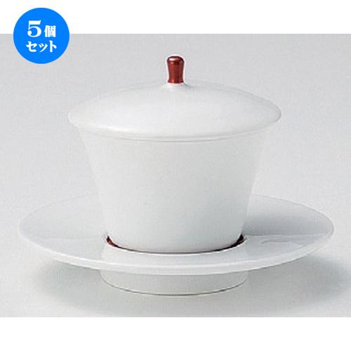 5個セット☆ 煮物碗 ☆赤巻蓋付デザートカップソーサー付 [ 12 x 9.3cm (90cc) 339g ] [ 料亭 旅館 和食器 飲食店 業務用 ]